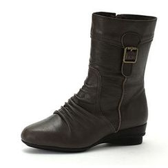 MODELSIS - Buckled-Detail Genuine Leather Boots