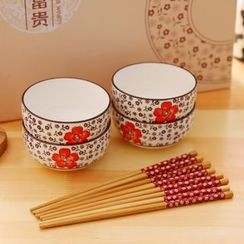 ITOK - Printed Bowl and Chopsticks Set