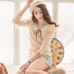 Tokyo Fashion - Shirred-Sleeve Beaded-Collar Top