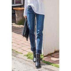 migunstyle - Contrast-Hem Straight-Cut Jeans