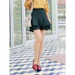 LOLOten - Tiered Ruffle-Hem Mini Skirt