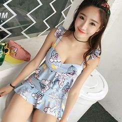 Little Dolphin - Set: Printed Tankini Top + Swim Skirt