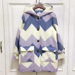 Moricode - Chevron Knit Hooded Coat