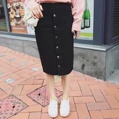 Bloombloom - Buttoned Midi Denim Skirt