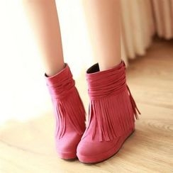 Pangmama - Fringe Hidden Wedge Short Boots