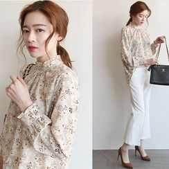 NIPONJJUYA - Mock-Neck Frilled Floral Chiffon Top