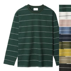 Seoul Homme - Long-Sleeve Striped T-Shirt
