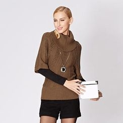 O.SA - Elbow-Sleeve Turtleneck Open-Knit Top
