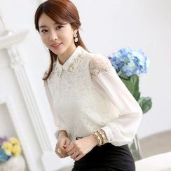 KAKAGA - Beaded Lace Chiffon Blouse