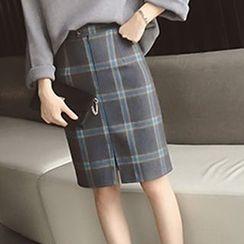 Shatan - Set: 3/4-Sleeve Sweater + Plaid Slit Skirt