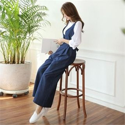 Styleonme - Wide-Leg Denim Jumpsuit