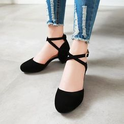 Shoes Galore - Cross Strap Block Heel Pumps