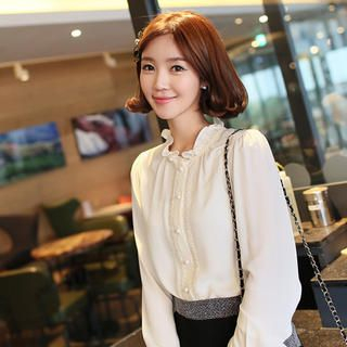 CLICK - Frilled Collar Lace Trim Blouse