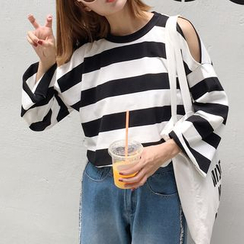 Glen Glam - Cut Out Shoulder Striped Long Sleeve T-Shirt