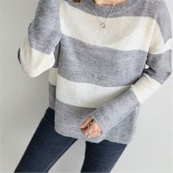 PIPPIN - Color-Block Round-Neck Knit Top