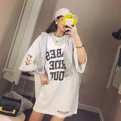 MATO - 3/4-Sleeve Lettering T-Shirt Dress