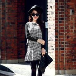HStyle - Set: Houndstooth-Panel Top + Ruffled Skirt