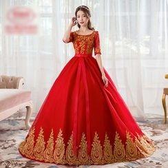 Amanecer - Embroidered Elbow-Sleeve Wedding Dress