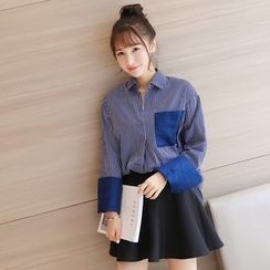 Colorful Shop - Striped Panel Shirt