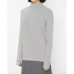 Someday, if - Turtle-Neck Striped Cotton Top