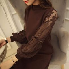 anzoveve - Puff Lace Sleeve Long Knit Top