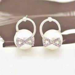 Best Jewellery - Rhinestone Bow Faux Pearl Earrings