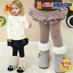 JELISPOON - Girls Inset Skirt Fleece-Lined Leggings