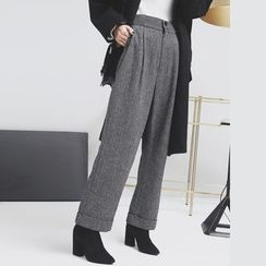 Sonne - Rolled Straight-Fit Herringbone Dress Pants