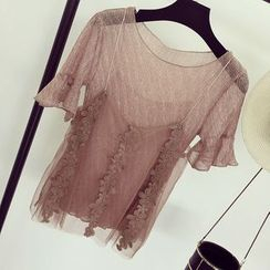 Honeydew - Set: Short-Sleeve See-Through Top + Lace Trim Mesh Camisole Top