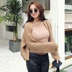 Seoul Fashion - Button-Detail Chunky-Knit Cardigan