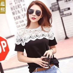 Ranee - Short-Sleeve Lace-Panel Top