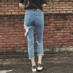 UUZONE - Cut-Off Detailed Distressed Jeans