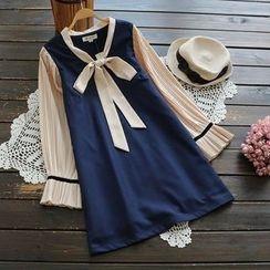 YOYO - Tie-Neck A-Line Dress
