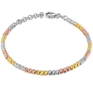 MaBelle - 14K Tri-Color Gold Diamond-Cut Beads Bracelet (6.5'')