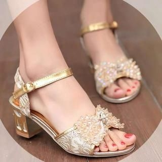 Pangmama - Beaded Lace-Strap Metallic Sandals
