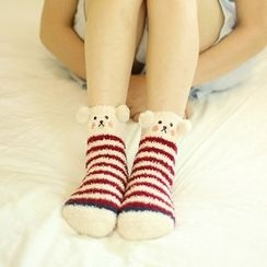 Socka - Pompom-Accent Printed Velvet Socks