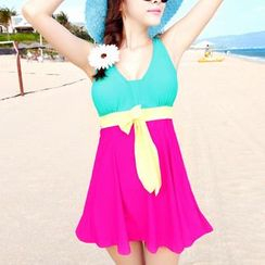 Charmaine - Color Block Swimdress / Patterned Swimdress