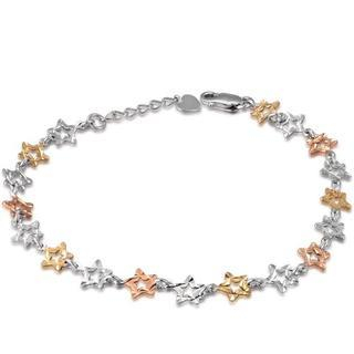 MaBelle - 14K Italian Tri-Color Yellow, Rose and White Gold Open Diamond Cut Stars Link Bracelet (6.5')