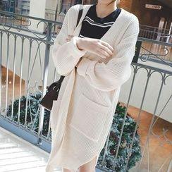 mimi&didi - Drop-Shoulder Open-Front Long Cardigan
