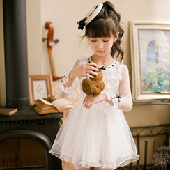 糖果雨 - 小童长袖薄纱拼接连衣A字裙