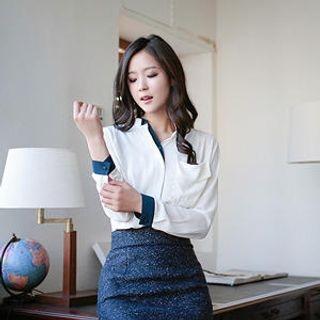 MASoeur - Mandarin Collar Contrast Trim Blouse