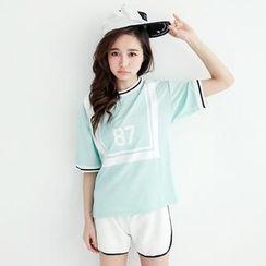 Tokyo Fashion - Short-Sleeve Striped-Trim Lettering T-Shirt
