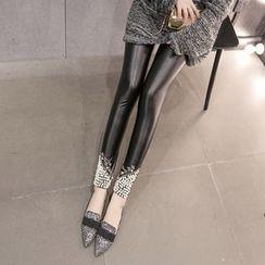 Bloombloom - Beaded Faux Leather Leggings