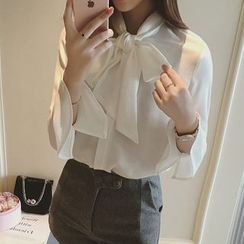 AININI - 蝴蝶结长袖雪纺衬衫