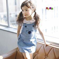 Cuckoo - Kids Ruffle Trim Denim Pinafore Dress