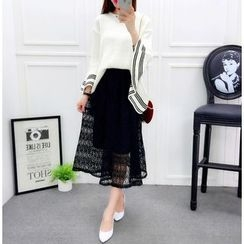 Ekim - Set: 3/4-Sleeve Sweater + Lace Panel Midi Skirt