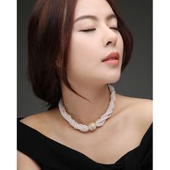 Miss21 Korea - Faux-Pearl Multi-Strand Choker