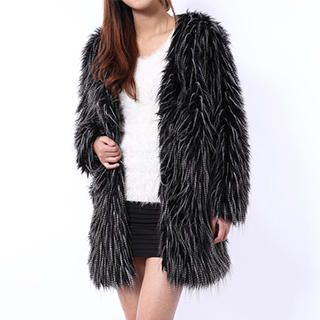 YiGelila - V-Neck Faux-Fur Jacket