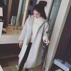Bloombloom - Plain Hooded Long Woolen Coat