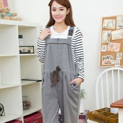Genkiss - Maternity Drawstring Waist Pinafore Jumpsuit